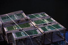 Wooden Lobster Traps with Green Twine Royalty Free Stock Photos