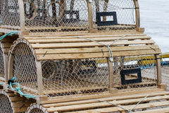 Wooden Lobster Traps on Wharf Stock Photos