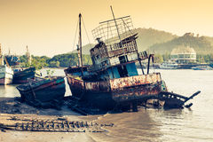 Wooden local fisher boat. Phuket island. Thailand Royalty Free Stock Image