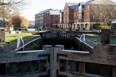 Wooden Lock Gates. The wooden lock gates of the Leeds-Liverpool canal near Wigan Pier Stock Photo