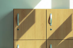 Wooden locker. The wooden locker with handle royalty free stock images