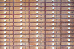 Wooden locker in Japanese shinto temple Stock Photos
