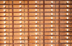 Wooden locker in Japanese shinto temple vintage Stock Photography