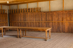 Wooden lockers in Dachau Concentration Camp Stock Image