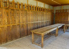 Wooden lockers in Dachau Concentration Camp, Germany Royalty Free Stock Images
