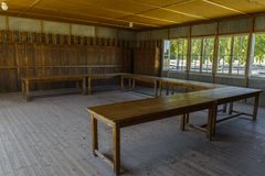 Wooden lockers in Dachau Concentration Camp, Germany stock images