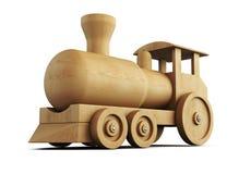 Wooden locomotive close-up. 3d. vector illustration