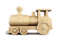 Wooden locomotive side view on a white. 3d. Stock Image