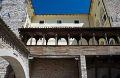 Wooden lodge. Urbani Palace. Spello. Umbria. Royalty Free Stock Image