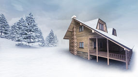 Wooden lodge at winter landscape with trees Stock Photos
