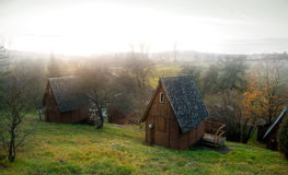 Wooden lodges in a forest Royalty Free Stock Photo