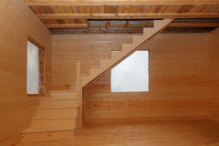 Wooden loft stairs under conctruction Stock Photo