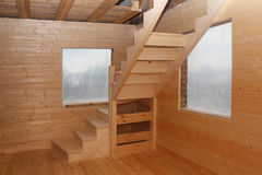 Wooden loft stairs under conctruction Stock Images