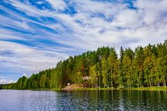 Wooden log cabin at the lake in summer in Finland Stock Photo