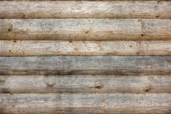 Wooden Log Cabin Old Wall Natural Colored Horizontal Background Royalty Free Stock Photography