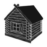 Wooden log cabin. Hut architectural structure single icon in black style vector symbol stock illustration royalty free illustration