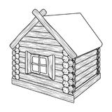 Wooden log cabin. Hut architectural structure single icon in outline style vector symbol stock illustration stock illustration