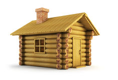 Wooden log-house. Isolated wooden log-house 3d rendering Royalty Free Stock Photos