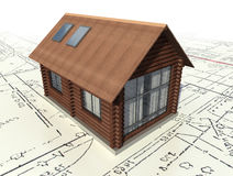 Wooden log house on the master plan. royalty free illustration