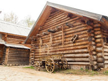 Wooden log house in Russian village in the middle Russia Royalty Free Stock Photo