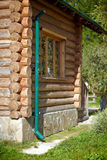 Wooden  log house in the village Stock Image
