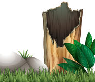 Wooden log and rock on grassland. Illustration Royalty Free Stock Images