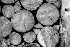 Wooden log wall black and white Stock Photo
