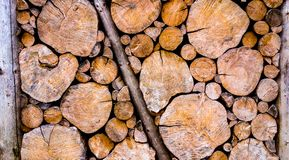 Wooden log wall in countryside Royalty Free Stock Images