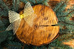 Wooden log winter holidays abstract background. With copy space royalty free stock images