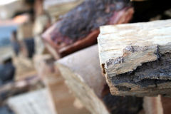 Wooden logs. Stacks of wooden logs for winter fire Royalty Free Stock Photos