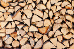 Wooden logs. A stack of wooden logs stock photo