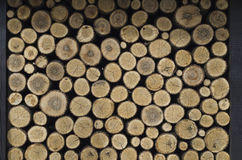 Wooden logs. Storage for wood in the old Serbian house Stock Photo