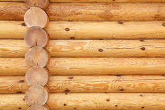 Wooden logs. Wall of the house of round wooden logs stock photos