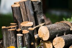 Wooden logs. A pile of wooden logs waiting to be used as firewood royalty free stock photo