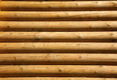Wooden logs. Wall of the rural house from wooden logs royalty free stock photography