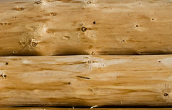 Wooden logs background. Close-up two wooden logs without bark royalty free stock photo