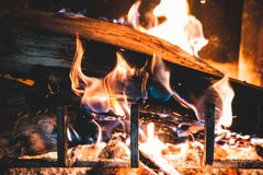 Wood logs in a fireplace stock photo