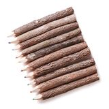 Wooden logs handmade colored pencils isolated Stock Photo