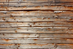Wooden logs with heat insulation material. Old wooden logs with heat insulation material between them. Part of wooden house walls Royalty Free Stock Photos