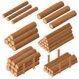 Wooden logs in the isometric. Brown bark of felled dry wood. Stock Photos