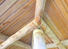Wooden logs roof with rope closeup Stock Photography