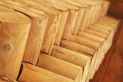 Wooden logs. Sight upwards Stock Image