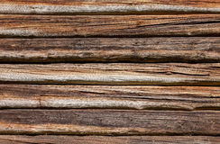 Wooden logs wall of old house background Royalty Free Stock Photo