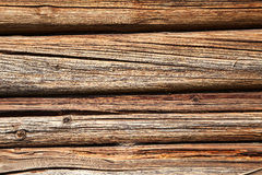 Wooden logs wall of old rural house Stock Images