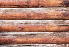 Wooden logs wall of rural house as background Stock Photo