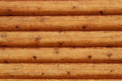 Wooden logs wall of rural house background Stock Photo