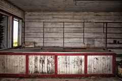 Abandoned wood walled store stock image