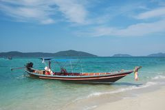 Wooden longtail boat. In Thailand royalty free stock photos