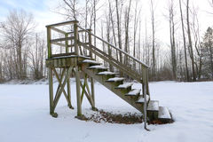 Wooden Lookout Point in the Snow in a Golf Course Royalty Free Stock Photos