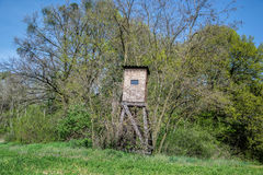 Wooden lookout tower for hunting in the woods Royalty Free Stock Photography